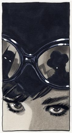 Catwoman by Adam Hughes ... Cat woman looks suspiciously like Audrey Hepburn...