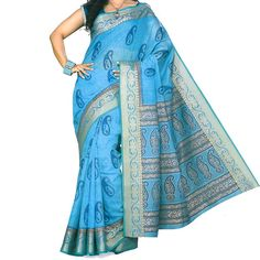 Indian Blue Printed Cotton Saree - Printed Traditional Sari with Ethnic Borders - 903577