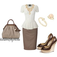 great summer outfit-love the peplum top and statement necklace. #outfit