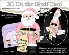 3D On the Shelf Card Kit Christmas Santa s List on Craftsuprint - View Now!