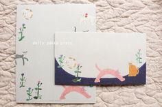 Cat Washi Letter Writing Set   Animal Letter Set -  12 letter papers - 4 envelopes  - 1856