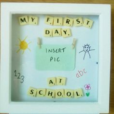Items similar to First Day At School Frame/ Day of School/ First day at Nursery Frame/School Keepsake/ Personalised School Frame/My First Day At School on Etsy Box Picture Frames, Box Frame Art, Deep Box Frames, White Box Frame, Picture Letters, Box Art, Scrabble Tile Crafts, Scrabble Frame, Scrabble Art