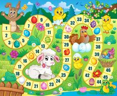 Board game image with Easter theme 1 - picture illustration. Easter Games, Easter Activities, Activities For Kids, Board Game Template, Printable Board Games, Math For Kids, Diy For Kids, Crafts For Kids, Preschool Games