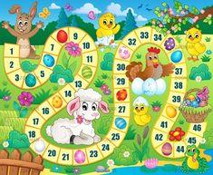 Társasjáték kép húsvéti téma 1 - kép illusztráció.