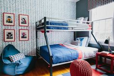 Bright colors and layered patterns result in a kids' room with plenty of fodder for the imagination. Sheets and wallpaper by Serena and Lily provide instant pop, while a contemporary bunk bed leaves plenty of space for two brothers to play. FLOR tiles can be easily cleaned or replaced as needed.