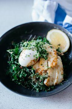 Warm Green Breakfast Bowl, micro greens egg and zucchini
