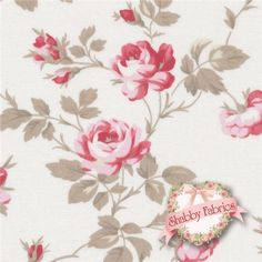 """Petal PWTW058-Ivory By Tanya Whelan For Free Spirit Fabrics: Petal is a collection by Tanya Whelan for Free Spirit Fabrics.  43/44"""" wide.  100% cotton.  This fabric features trailing red roses on a cream background."""