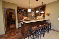 Lower Level Entertainment Area - traditional - family room - minneapolis - Gonyea Homes & Remodeling Rustic Basement Bar, Small Basement Bars, Basement Bar Designs, Basement House, Basement Ideas, Basement Layout, Basement Walls, Basement Flooring, Basement Kitchenette