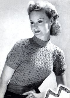 Vintage Women's Lacy Jumper 1940's knitting by VintageKnitLibrary