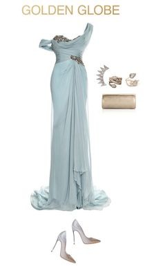"""Untitled #1869"" by mina1924 ❤ liked on Polyvore featuring Marchesa, Casadei, Jimmy Choo, David Yurman, Saqqara and GoldenGlobes"
