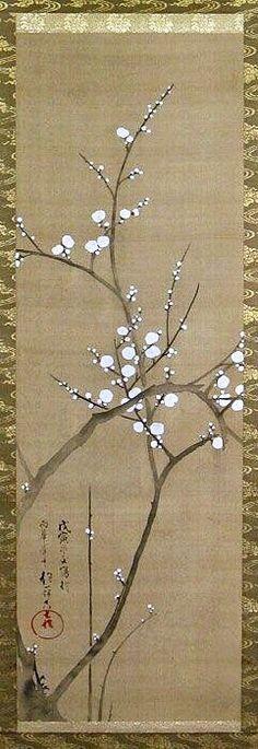 Sakai Hoitsu (1761-1828). Japanese hanging scroll. White Plum Blossom.