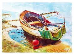 "Little boat by Graham Berry Watercolor ~ 8"" x 11"""