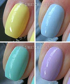 (All Illamasqua: starting upper left, clockwise: Blow, Caress, Wink, Nudge) Pastel Nail Polish, Nail Polish Art, Pastel Nails, Purple Nails, Red Nails, Acrylic Nails, Nail Art, Natural Manicure, Green Hair