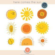 Sun Sunshine Clip Art Graphics- Hand-Drawn Digital Illustrations- Commercial Use Royalty Free - inst Sun Illustration, Animal Illustrations, Fantasy Illustration, Illustrations Posters, Arte Indie, Posca, Wall Art Designs, Poster Designs, Sun Art