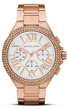 6a8f1c23a79e Women s Metallic Rose Gold Tone Camille Glitz Watch. Lyst. Michael Kors ...