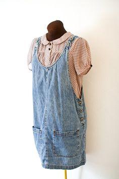 1990s Dress / vintage denim overall dress / M by citysongvintage