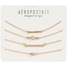Aeropostale Dainty Charm Bracelet 4-Pack ($6) ❤ liked on Polyvore featuring jewelry, bracelets, accessories, gold, gold charm bracelet, polishing gold jewelry, aéropostale, gold jewelry and gold bracelet bangle