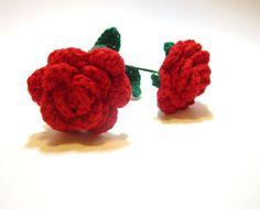 Red Crochet Rose  Romantic Gift for Her  Handmade by MadebyJody666
