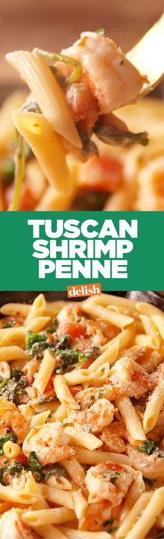 Tuscan shrimp penne tastes like you went out to a fancy restaurant for dinner. Get the recipe on Delish.com.