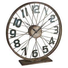 Gerson Company Lone Elm Studios Bicycle Table Wheel Clock - 92383