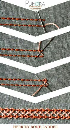 Embroidery Designs escalera de espina de pescado - Learn how to embroider with the lexicon of embroidery stitches. Step by step tutorials on how to do the back stitch and it's variations. Embroidery Designs, Embroidery Stitches Tutorial, Hand Embroidery Patterns, Embroidery Techniques, Ribbon Embroidery, Sewing Techniques, Embroidery Art, Cross Stitch Embroidery, Sewing Patterns