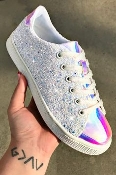 Glitter Bomb Iridescent Toe and Lace Sneakers (PRE-SALE) - Unicorn