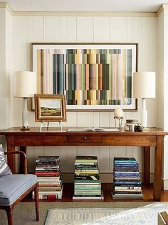 """Graphic artby David Grey, a favorite rising star at One Kings Lane, is one of the family room's most eye-catching contemporary features. It works because """"it goes with the color palette we established at the beginning of the project,"""" says Nicole."""