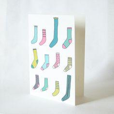 Odd Socks Illustrated Greetings Card by createdbyhannah on Etsy, £2.50