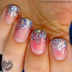 I love these. I like how the glitter fades into the nail instead of just the tips