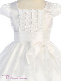 White Taffeta Princess Cap Sleeve Girl Dress
