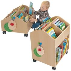 Book Bins & Browsers - Willy the Bookworm Rolling Library