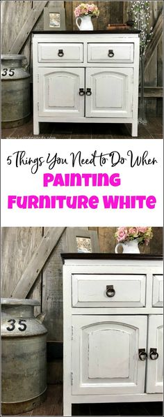 Curious how to paint furniture white? Is there a secret to painting white furniture? This cabinet is given a white painted furniture makeover. Follow these 5 tips to painting furniture white for a result you will love. painted furniture, white painted furniture, furniture painting, white furniture paint, painting wood furniture white, how to paint furniture distressed white.  via @justthewoods
