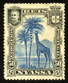 "Nyassa 1901 Scott 32 50r black & dark blue ""Giraffe"""