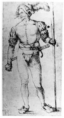 Landsknecht by Hans Süß von Kulmbach, c1507-10 - Minor issue with this drawing, the claim is that Hans drew this piece, yet Albrecht Dürer's initials are plainly in the corner.  Did Hans copy this piece in it's entirety or is it wrongly attributed?