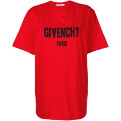 Givenchy Short Sleeves T-Shirt (2.870 RON) ❤ liked on Polyvore featuring tops, t-shirts, dresses, red, short sleeve graphic tees, red tee, cotton t shirts, loose t shirt and distressed graphic tee