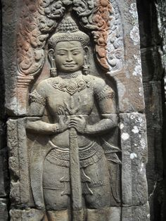 Carving at the Small Temple of Banteay Kdei , Cambodia.