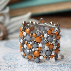 orange, grey, white, silver