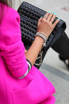 Hot pink and black accessories