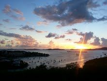 Check out the amazing #sunset the #USVI had this past weekend! Contact #BlueOceanBooking to learn about the best places to watch the sunset on #vacation on #STJ!