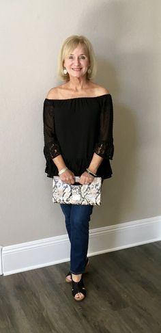 Black off-shoulder top, espadrille wedges