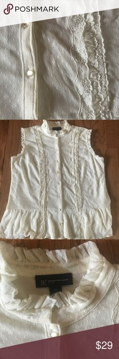 ❄️ INC. international Concepts lace top size 2X Excellent condition size 2X cream lace button up top. Great for winter with a sweater over it then nice for spring and summer alone. INC International Concepts Tops Button Down Shirts