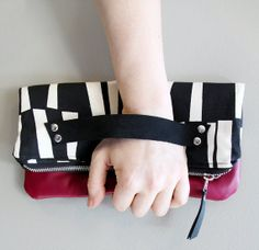 Black and White Clutch with Pomegranate Leather. by piprobins, $54.00