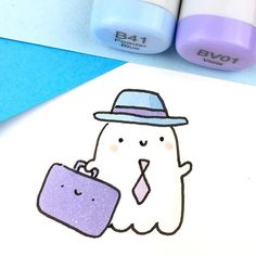 Spooky and I are going on a trip! Can you guess where we\'re going?  It might have something to do with Roses, Books and Donuts!  • • #kawaii #spookymccute #travelinstyle #doodling #copicsketch