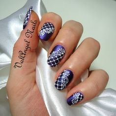 Dark Blue Metallic Nails with white Free hand painted lace nail art - Design requires Fair Level of experience