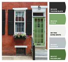 Super Front Door Colors With Red Brick And Black Shutters Ideas House Front Door, House, House With Porch, Shutters Brick House, Brick Exterior House, House Exterior, Brick, Green Front Doors, Red Brick House