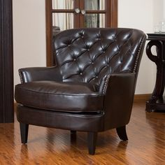 @Overstock - Christopher Knight Home Tafton Tufted Brown Leather Club Chair - With deeply tufted back and studded perimeter, this club chair features deep brown colors to match your existing decor. You can relax in this chair in any room in your home in comfort and style.  http://www.overstock.com/Home-Garden/Christopher-Knight-Home-Tafton-Tufted-Brown-Leather-Club-Chair/6045761/product.html?CID=214117 $330.54