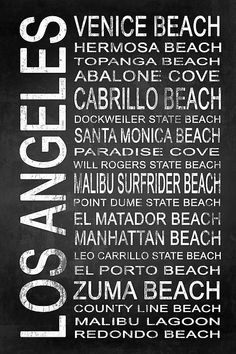 Los Angeles 3 - Subway Sign Typography Wall Art by Melissa Smith – Urban Art District. | Display the richness Los Angeles has to offer with this framed or canvas subway sign typography.  It features popular areas or attractions in the city, and the chalkboard style will easily compliment any wall color or décor.  Make interior design simple and inspiring.  Share if you ♥ it!