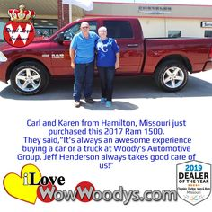 Carl and Karen couldn't be happier with the purchase of this Ram 1500. Thank you for being royal loyal customers! Congratulations! 🎉 #wow #wowwoodys #woodysautomotive #cars #trucks #suvs #carsforsale #trucksforsale #suvsforsale #kansascity #chillicothe #customerreviews #customertestimonials #wowcarbuying #carshopping #happycustomers #2017ram1500 #ram1500 #ram #1500