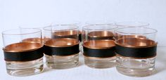 Coppercraft Guild Lowball Glasses Set of Eight Mid Century Rocks Glasses by digatomic on Etsy