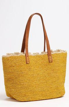 Main Image - Mar y Sol 'Wellfleet' Tote Straw Tote, Crochet Designs, Leather Handle, Nordstrom, Handbags, Tote Bag, Purses, Knitting, Sidewalk